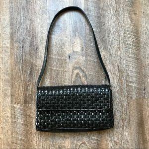 Nine West black leather woven shoulder bag
